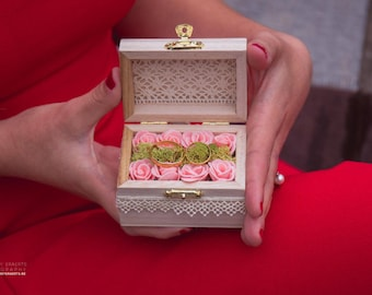 Chest box wood floral and vintage wedding chest for wedding rings wood ring holder big box for rings engagement box