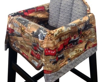 Vintage Train Restaurant High Chair Cover Brown Red