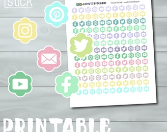 Social Media Planner Stickers - PRINTABLE - Perfect for your Erin Condren, Happy Planner or Any Other!