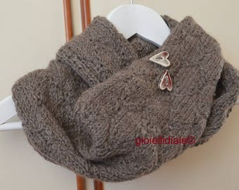 Woman neckwarmer, brown neckwarmer, wool neckwarmer, infinity scarf, brown scarf, raku ceramic buttons, woman birthday, woman Christmas gift