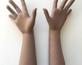 Brown Doll Arms - Bisque Porcelain Ceramic Hands for Assemblage Art or Doll Making - Creepy Doll Arm - Beautiful Quirky Strange Oddities