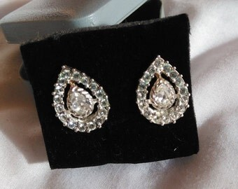Vintage Napier earrings,silver tone teardrop diamante earrings, vintage costume jewellery
