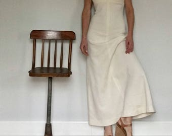 70s winter white knit casual formal maxi dress// Long tank top A line baby doll cream// Women's size small S 4-6 USA