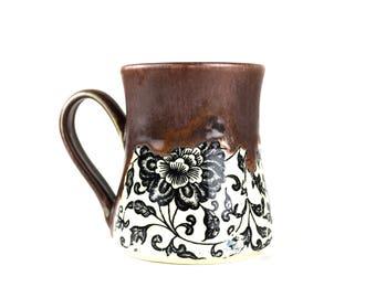 Large purple mug with flowers handmade pottery