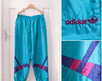 80s Retro Adidas Pants Neon Tracksuit Pants Mens Large Shell Suit Trousers Womens XL Sports Pants Blue Sweatpants Tall Baggy Adidas Bottoms
