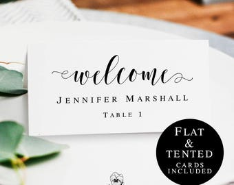 Printable name cards wedding Seating cards template Place cards instant download Wedding name tags printable Wedding table name card #vm31