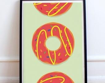 Yummy Doughnuts Poster Print- Minimalist, food, food porn, party food, kids room, childrens, kitchen, dining room, glazed