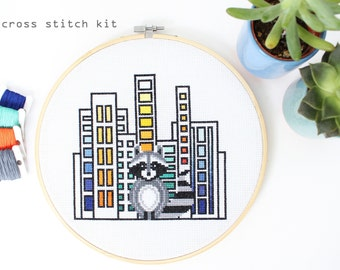 Raccoon in the City - Modern Counted Cross stitch Kit- Easy DIY cross stitch kit