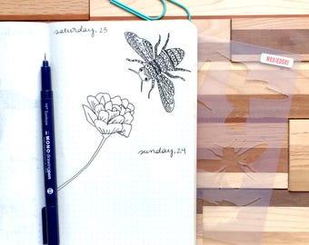 Nature in Flight Journal Stencil, Zentangle Stencil, Fits journals such as Moleskine, Leuchtturm and FN