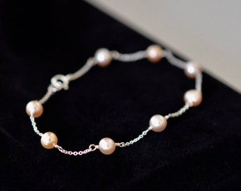 4-5mm Genuine Freshwater Pearl Bracelet in 14k Gold Fill, Sterling Silver or Rose Gold Fill, Pearl Bracelet, Wedding Bridal pearl bracelet