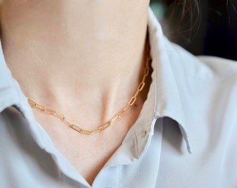 Rectangle Link Chain Choker, Retro Link Chain Choker Necklace, Mini Rectangle Chain Necklace in 14K Gold Fill or Sterling Silver