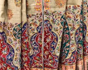 Kalamkari Pure Pashmina Shawl, Hand Painted & Hand Embroidered Kashmir Scarf, Pure Cashmere Shawl, Kalamkari Scarf, Kashmiri Hand Sozni Work