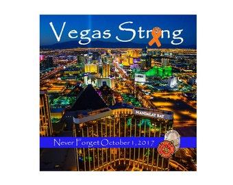 Vegas Strong Wooden Sign 8x8