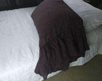 Brown Linen pillow case with long ruffle ruffled pillowcase chocolate pillow sham standard pillowcase queen pillowcase eco linen bedding