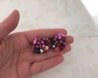 1950s Cluster Earrings - Clip on Earrings - 1950s Purple Beaded Cluster Clip on Earrings - Clip Earrings - Beaded Jewelry - 50s Earrings
