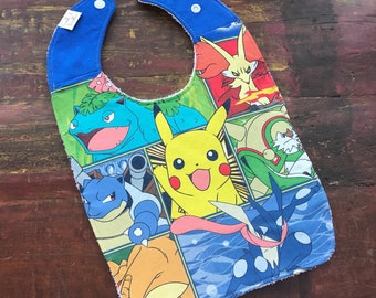 Pokemon Upcycled Recycled T-Shirt Bib with Terry Cloth Back  - OOAK