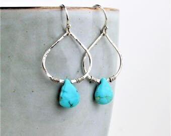 Turquoise Earrings Silver, Turquoise Boho Hoops, Turquoise Hammered Silver Earrings, Turquoise Handmade Earrings, December Birthstone