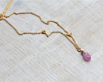 Raw Pink Gemstone Necklace, Raw Pink Sapphire Rose Gold Filled, Silver, Real Sapphire Necklace, Rough Sapphire, Raw Pink Crystal Necklace