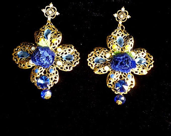Gold Dark Blue Swarovski Flower Earrings Drop Dangle Chandelier Long Boho-Chic Pendants Wholesale Exotic Birthday earrings party celebration