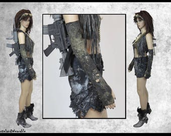 Mad MAx Gloves Post APOCALYPTIC GLOVES BLACK Long Gloves Fallout Gloves Black Fingerless Apocalyptic Gloves  by WastelandWearable
