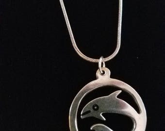 """CP009: Solid Sterling Silver 21.75"""" Snake Chain Necklace with Solid Silver Round Dolphin Cutout Malachite Chip Inlay Pendant"""