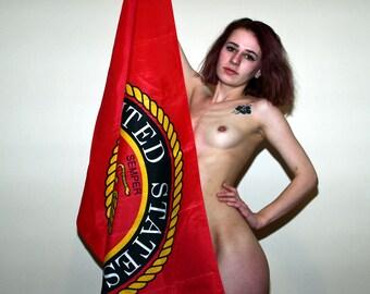 Mature Nude U.S. USA Marines Flag Artful Artistic Fine Art Photo