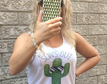 Sun's Out Guns Out - Satin Jersey Ladies' Shirttail Tank - Funny Workout Women Tanks Exercise Working Out Gym Shirt Cactus Cacti Succulent
