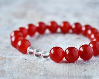Red Agate and Mountain Crystal Bracelet, Protection bracelet, Red Gemstone Bracelet, Yoga Bracelet, Energy Bracelet, Natural Gemstone Gift
