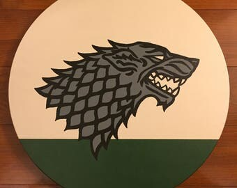 Game of Thrones House Stark Sigil - Hand painted on wood - Ready to hang wall art