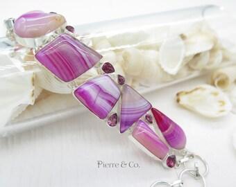 Pink Lace Agate Kunzite Sterling Silver Bracelet