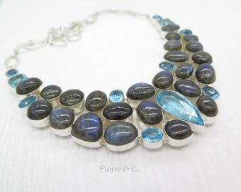 Blue Labradorite and Blue Topaz Sterling Silver Necklace