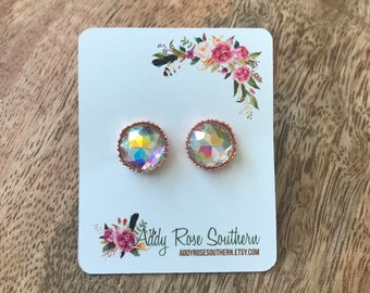 12mm druzy earrings in rose gold, druzy studs, druzy earrings, rose gold studs, rose gold druzy earrings, bridesmaid gifts, wedding je