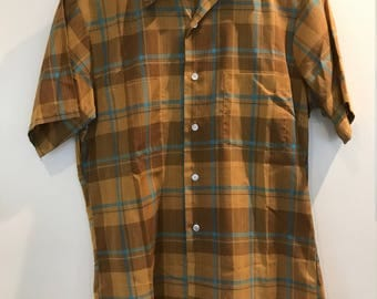 Vintage Penneys Towncraft Short Sleeved Plaid Shirt 1970s