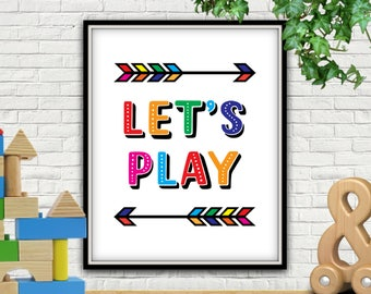 Let's Play, PRINTABLE, Lets Play, Playroom Decor, Playroom Sign, Playroom Art, Playroom Wall Art, Playroom Wall Decor, Playroom Prints, Kids