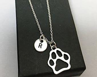 Custom paw print necklace, paw print necklace, print charm pendant,personalized,custom,initial necklace,initial charm,paw print jewelry,gift