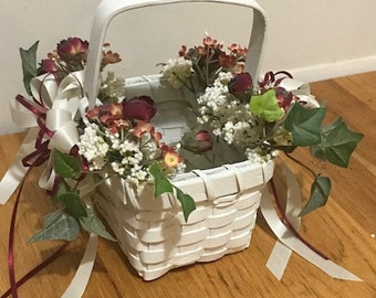 Vintage Flower Girl Basket Adorned with Faux Flowers and Ribbons