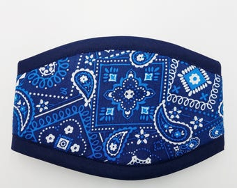 BANDANA BLUE Premium Belly band by ComfyStyles / Your Choice Border / Dog Diaper /Dog Potty Training Aid / Incontinence Wrap Male Dog Puppy