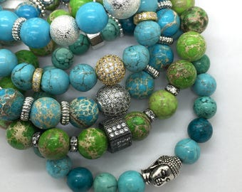 Turquoise Beads Stretch Buddha Head Bracelet, Valentines Day Gift, Friendship Gemstone, Boho Healing Silver Buddha jewelry beach yoga office