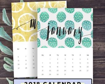 Printable Calendar 2018, 2018 Wall Calendar, Desk Calendar, Seasonal Patterns Calender, Letter, 8x10, A4, INSTANT DOWNLOAD, Digital