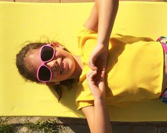 Girls Yellow Crop Top, Girls Summer Top, Girls Top, Girls  Shirt , Toddler Girls Top Sleeveless.