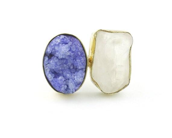Brass Quartz Drusy Ring, Raw Stone Ring, Druzy ring, Crystal Ring,Tribal, Ethnic Ring, Gypsy, Hippie,Statement, Festival, Boho