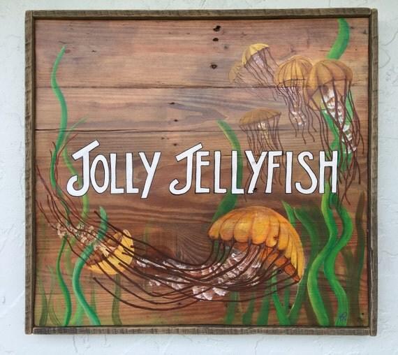Jolly Jellyfish Handpainted Artwork Sign Outdoor Tiki Patio Decor