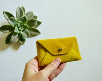 Yellow hairy leather card case / Mustard yellow envelope card holder / Leather business card case / Genuine leather