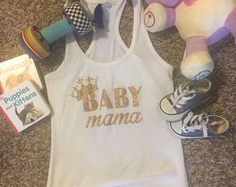 Baby Mama - Queen - Glitter Gold Lettering - Womens Racerback Tank