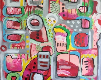 Watermelon Sherbet, 20x20 inches, Original Acrylic Art Painting on Stretched Canvas, Original Abstract Art