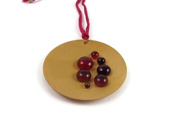 Cazuela Adjustable Necklace with Gold Disk and Glass Drops. Red, Magenta, Purple Necklace, Bronze disk, Circle, Geometric Necklace,