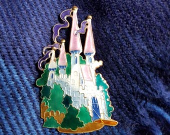 Zarah Enamel Vintage Fairy Tale Castle Pin / Brooch (pink, purple, green, turrets, pennants, drawbridge, storybook, princess) #JB-105