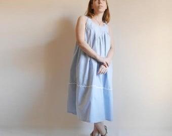SALE 25% Vintage Cotton Tent Dress White Blue Stripe Jumper dress Sundress Maternity-dress Yoke neck dress Vintage 80s Midi length Summer dr
