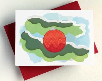 Red Christmas Ornament Card