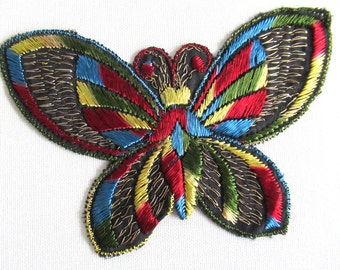 Butterfly applique 1930s vintage embroidered applique. Sewing supply, Crazy quilt. #6A8G43KB